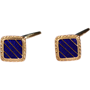 Art Deco Enamel Cuff Links On Gold Tone 1930's French Accessories