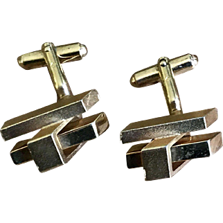 Vintage Gold Plated modernist Cuff Links French Accessories Circa 1970
