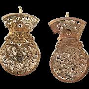 Antique Georgian Watch Cock Gold Tone Earrings