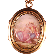French Victorian Enamel Locket Necklace Romantic Scenery French Jewelry