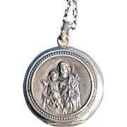 Antique Silverplate Locket Necklace French Victorian Christian Jewelry