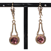 Antique Gold Tone Pendant Earrings French Victorian Jewelry