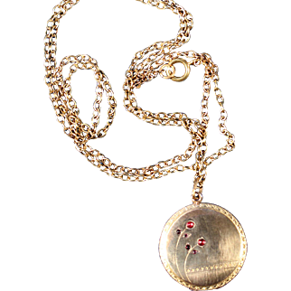 Antique Gold Tone Cherries Locket French Victorian Jewelry
