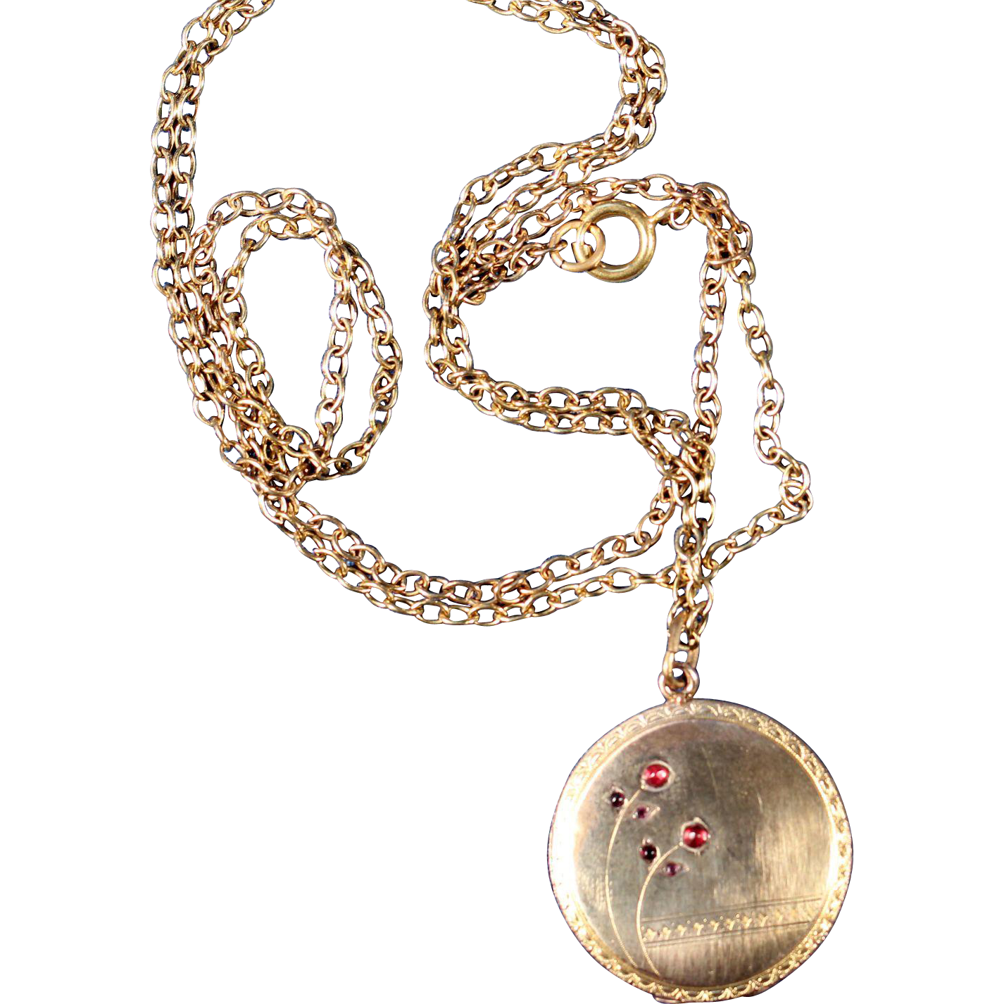 Antique Gold Tone Cherries Locket French Victorian Jewelry ...
