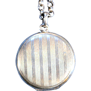 Antique Stamped Silver Locket Necklace French Victorian Jewelry