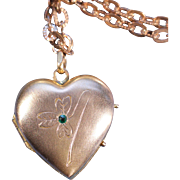 Antique Gold Tone Floral Heart Locket Necklace Extra Long French Victorian Jewelry