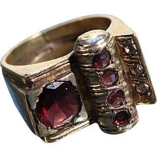 Art Deco Vermeil Garnet Ring French Jewelry Size Approx 5.65 US
