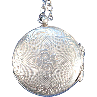 Antique Silverplate Double Face Floral Locket Necklace French Victorian Jewelry