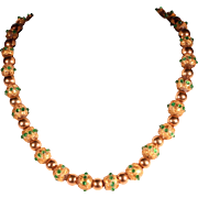 Antique Murano's Beaded Necklace 18k Yellow Gold Clasp Italian's Jewelry
