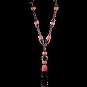 Art Deco Extra Long Bakelite Beaded Pendant Necklace 1920's French Jewelry