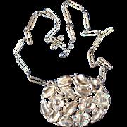 Antique Silver Dangle Flower Necklace French Art Nouveau Jewelry
