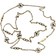 Antique Gold Tone Long Floral Necklace Art Nouveau French Jewelry