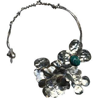 Elisabeth Ramuz Handmade Ooak Silver Floral With Amazonite Necklace Signed Numbered 1/1 Stamped
