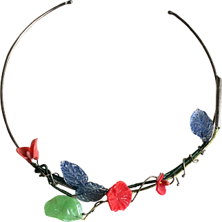 Elisabeth Ramuz Handmade Silver Ooak Multicolor Molten Glass Flowers Choker Signed Numbered 1/1 Stamped