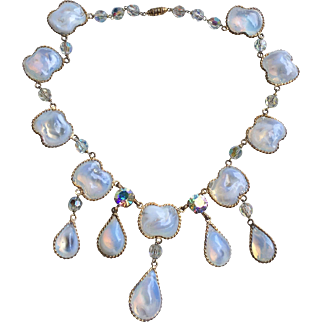 GRIPOIX Vintage  Poured Glass Dangle Necklace French Haute Couture Jewelry Circa 60/70