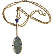 Art Deco Gold Tone Long Pendant Necklace Extra Long Chain French Jewelry Circa 1920's
