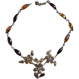GRIPOIX Vintage Poured Glass Floral Necklace French Haute Couture Jewelry Circa 60/70