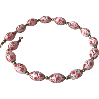 Antique Murano Floral Glass Beads Necklace 18k Yellow Gold Clasp 1st Half Of The 19th Century
