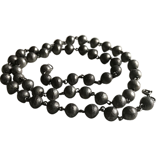Art Deco Silver Beaded Necklace French Jewelry