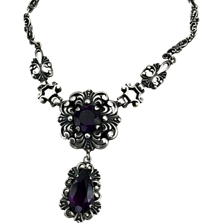 High End Neo Gothic Silver And Amethyst Floral Necklace Stamped