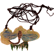 French Art Nouveau Horn Pendant Necklace Collectible Jewelry
