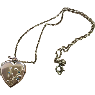 Antique Gold Plated Pendant Heart Locket French Art Nouveau Jewelry