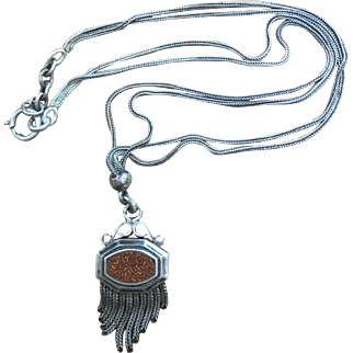 Anrtique Double Face Pendant Necklace Stamped Victorian French Jewelry