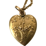Antique Gold Plated Floral Heart Pendant Necklace Victorian French Brand Fix