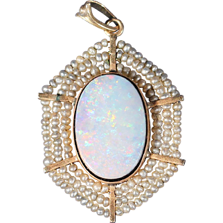 Art Deco Opal Real Pearls And 14k Yellow Gold Pendant 1920's European Jewelry Stamped