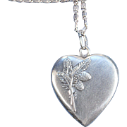 Antique Silver Double Face Heart Pendant Necklace French Victorian Jewelry Stamped