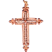 French Victorian Vermeil Pendant Cross Provincial Christian Jewelry