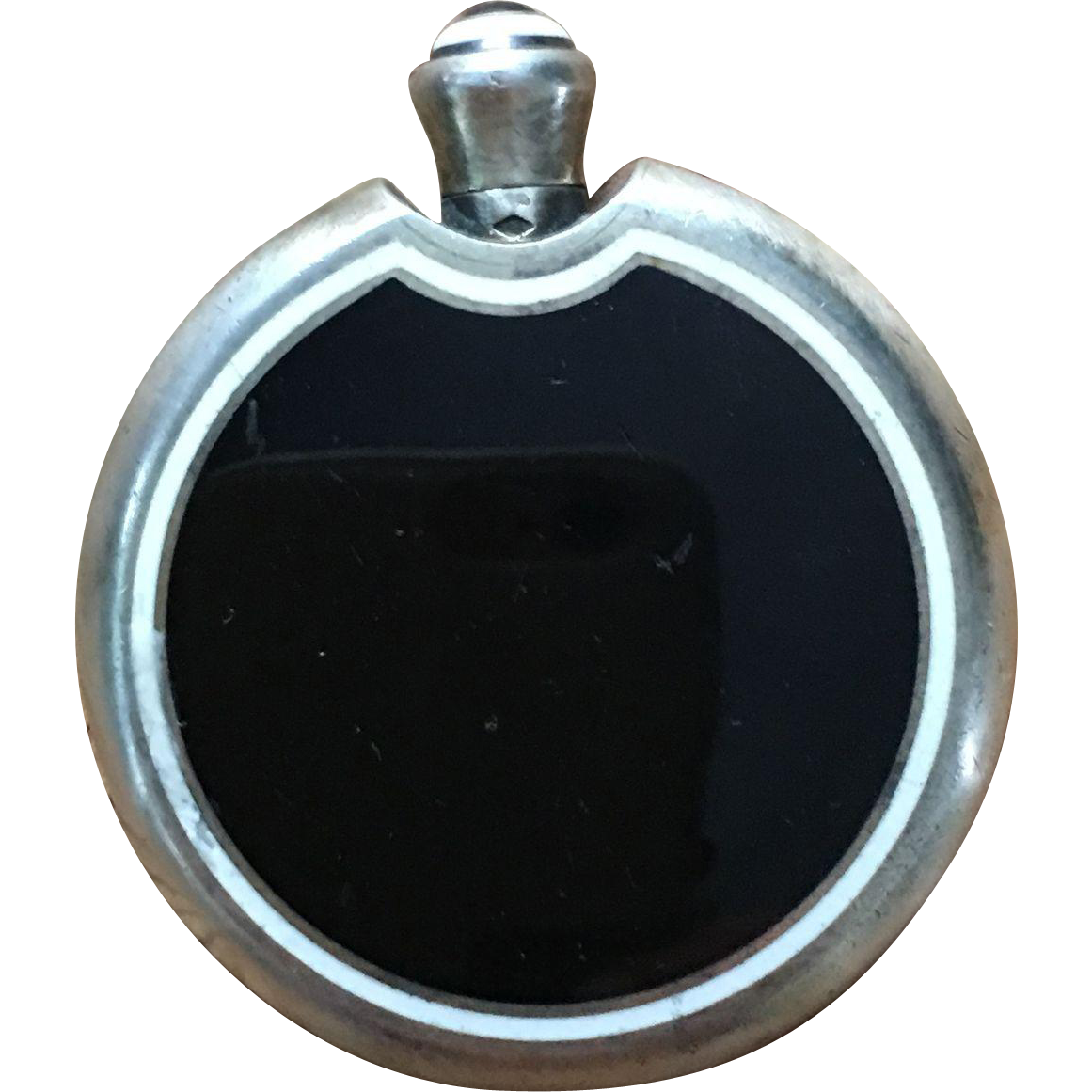 Art Deco Enamel On Silver  Small Perfume Flask French Accessories Stamped