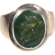 Antique Victorian Blood Jasper Intaglio 9k Yellow Ring European Jewelry Size 5.50 US