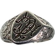 Antique Silver Floral Signet Ring Monogram French Victorian Jewelry Unisex Size Approx 9.20 US
