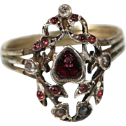 Antique Sterling Garnet Ring French Provincial Jewely 1st Half Of The 19th Century Size 9.25 US