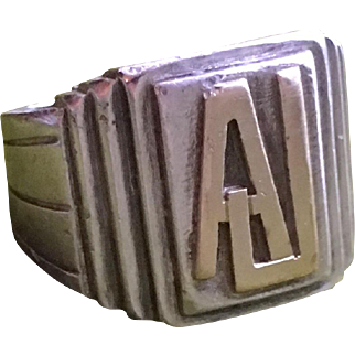 Vintage Art Deco Silver Signet Ring 18k Yellow Gold Monogram 1930s French Modernist Unisex Jewelry Size 7.20 Us Re Sizeable