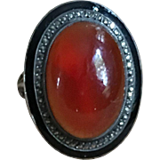 Antique  Large Cornaline Cabochon Ring On Silver  Victorian French Jewelry Stamped Size Ring 5.75 US