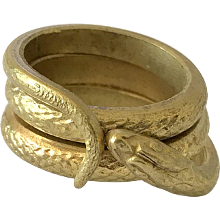 Antique Man's Snake Wrap Brass Ring French Art Nouveau Jewelry Size Approx 11.75 US