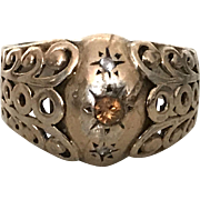 Art Deci Vermeil And Silver Ring Small Topaze 1930s French Jewelry Size 7.25