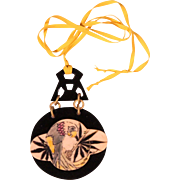 Art Deco Large Bakelite Pendant Necklace 1920's French Jewelry