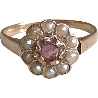 Antique 18k Yellow Gold Flower Ring Natural Pearls Amethyst Victorian French Jewelry Size 6.25
