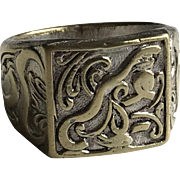 Art Nouveau Man's Brass Signet Ring French Jewelry Size 9.30