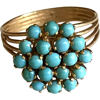 1960's  Turquoise Floral Ring On 18k Yellow Gold Size 8.72 Approx Stamped
