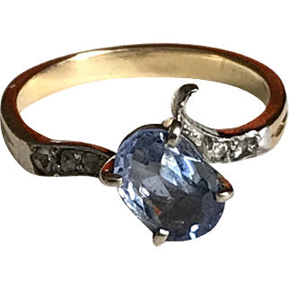 Art Deco Sapphire Ring On 18k Yellow 1930s French Jewellery Size 6.35 Approx