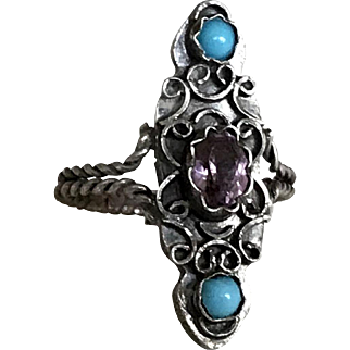 Antique Silver Marquise Ring French Victorian Jewelry Stamped Size 6
