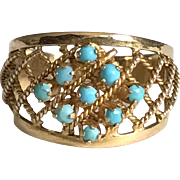 1960's Turquoise Ring On 18k Yellow Gold Stamped Size Ring 7.75 US