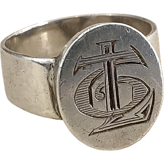 Antique Silver Signet Ring Size 9.80