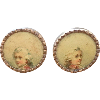 Antique Shirt Studs Set Little Marquis Portrait Victorian French  Monogram Dated 1890