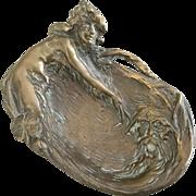Art Nouveau Small Bronze Trinket Tray