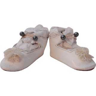 French Style Leather Doll Shoes - white